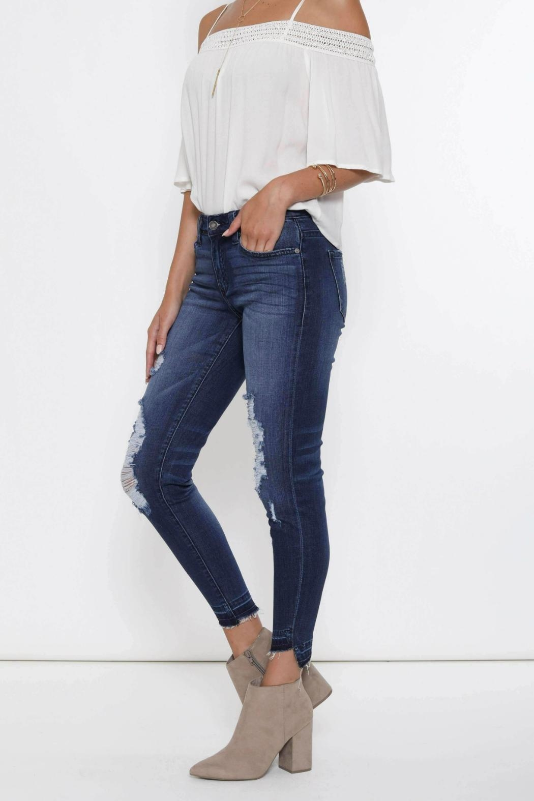 Kan Can Distressed High-Low Hem - Side Cropped Image