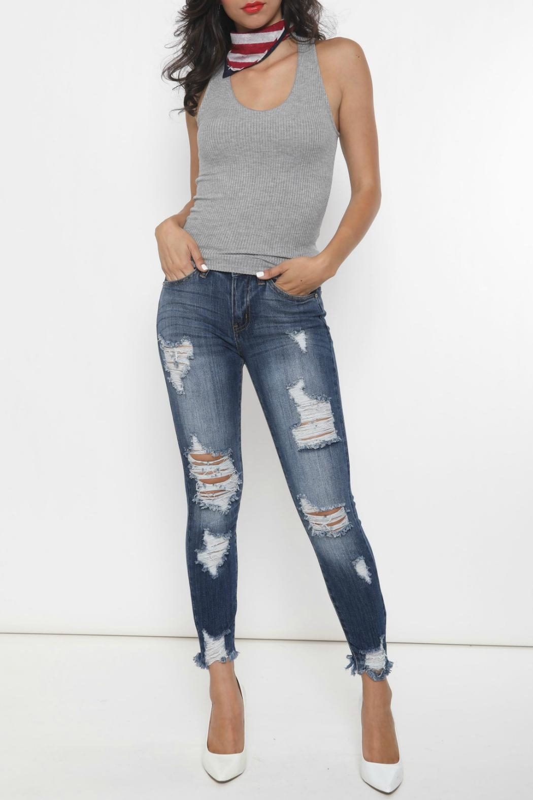 Kan Can Distressed Skinny Jeans - Main Image
