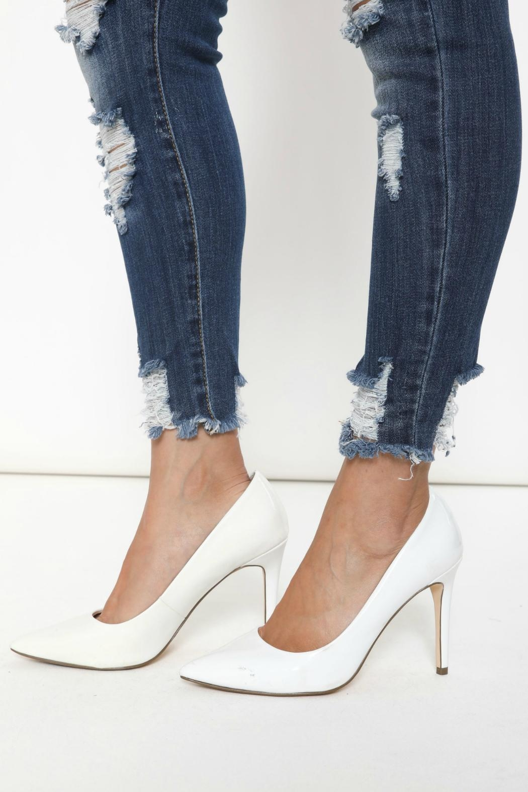 Kan Can Distressed Skinny Jeans - Back Cropped Image