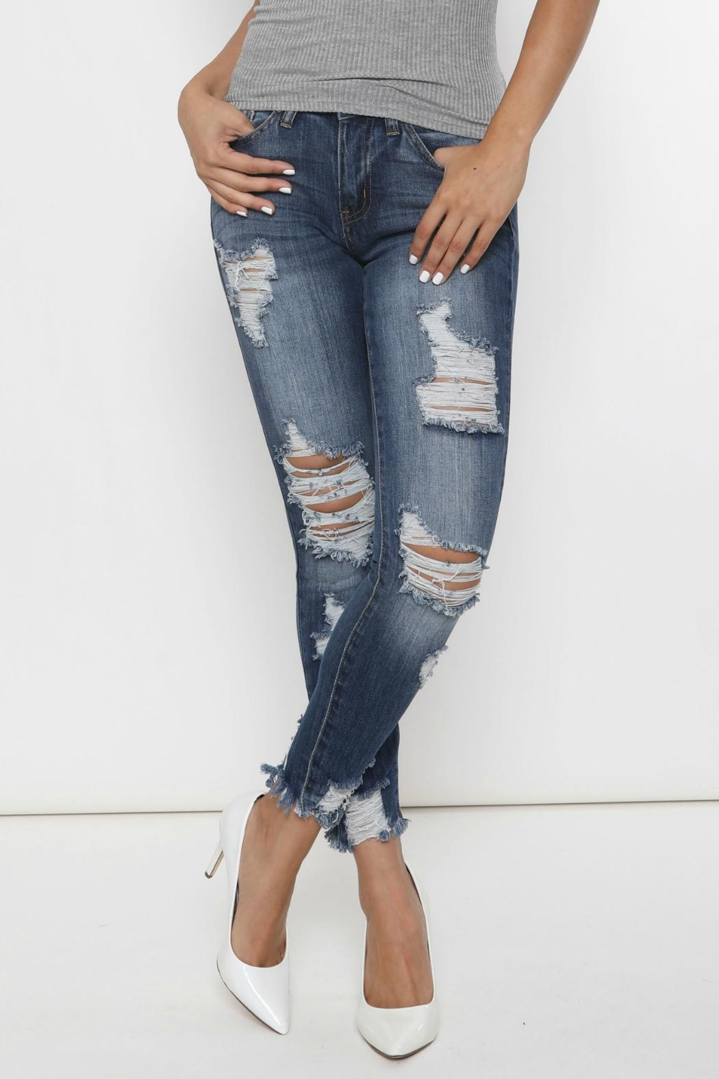 Kan Can Distressed Skinny Jeans - Front Full Image