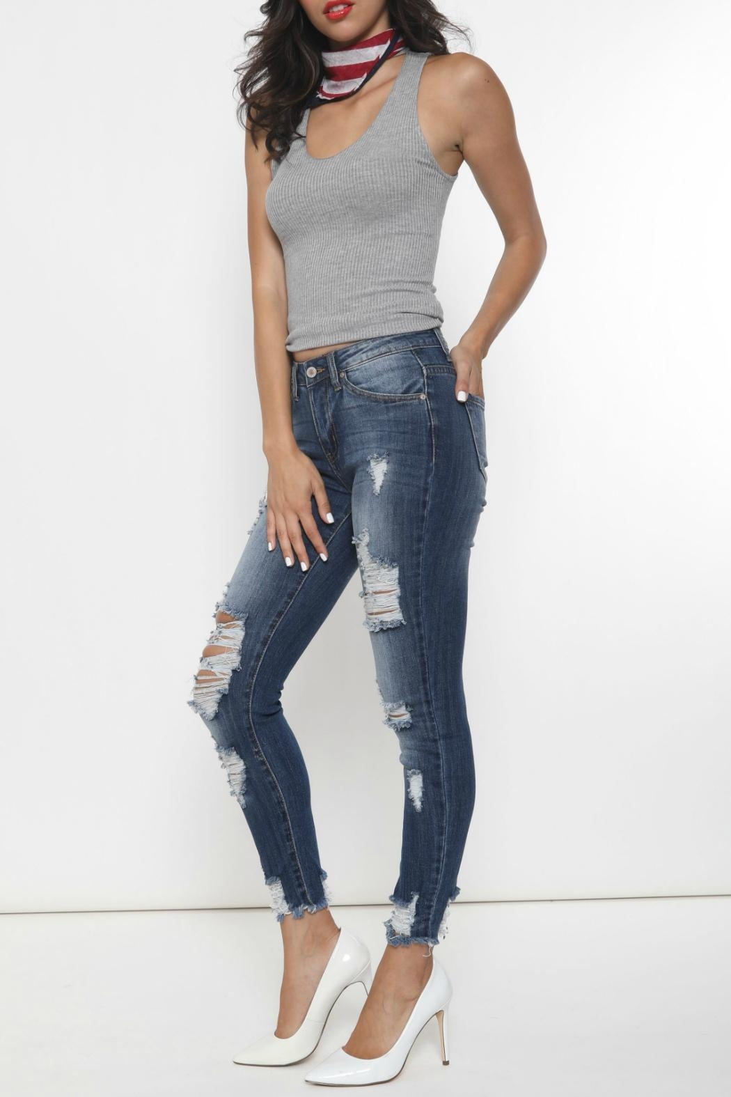 Kan Can Distressed Skinny Jeans - Side Cropped Image