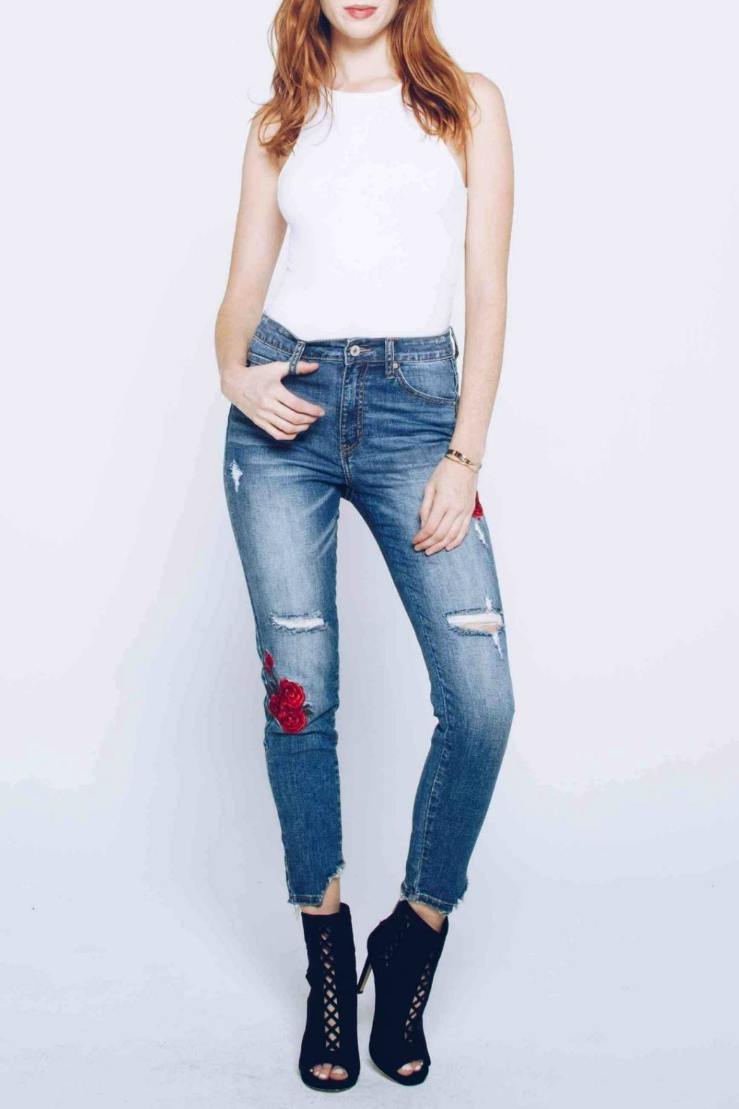 Kan Can Embroidered Distressed Skinny - Front Full Image