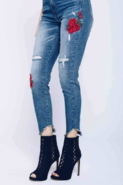 Kan Can Embroidered Distressed Skinny - Back cropped