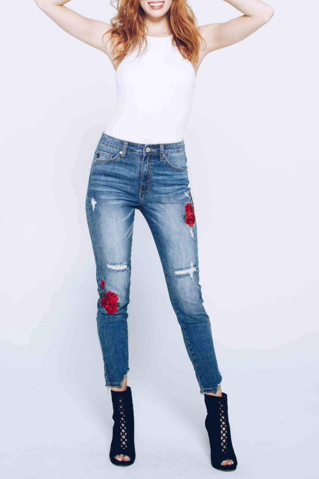 Kan Can Embroidered Distressed Skinny - Main Image