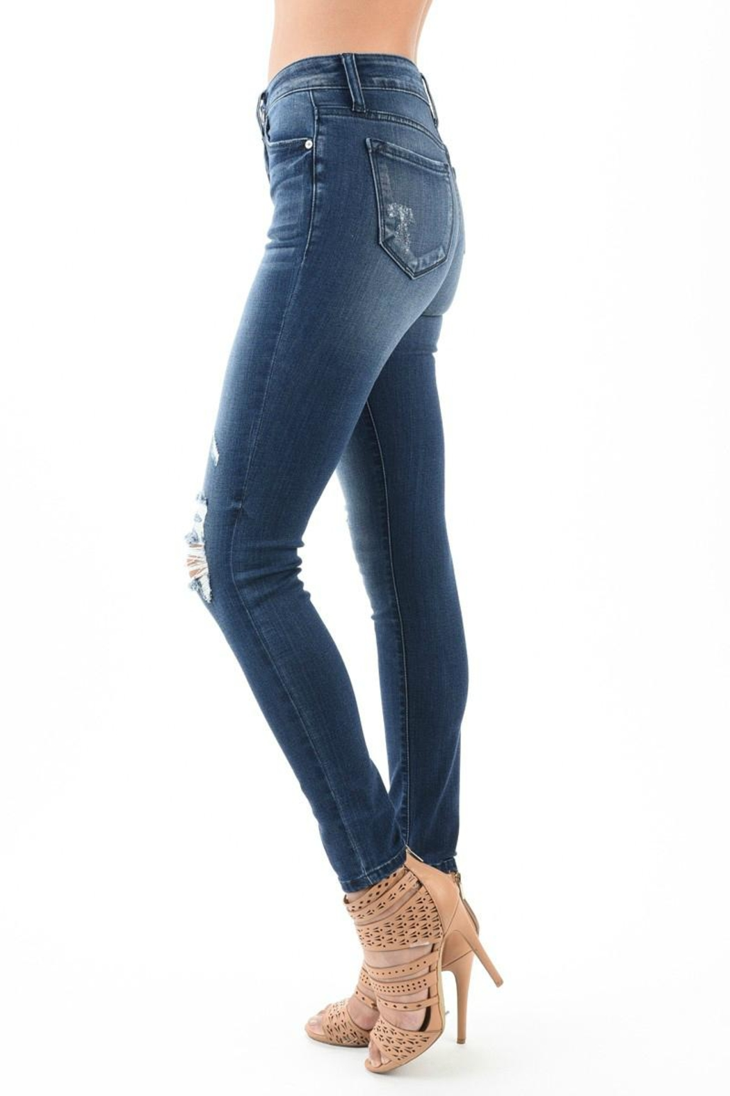Kan Can High Waist Distressed Jeans - Front Full Image