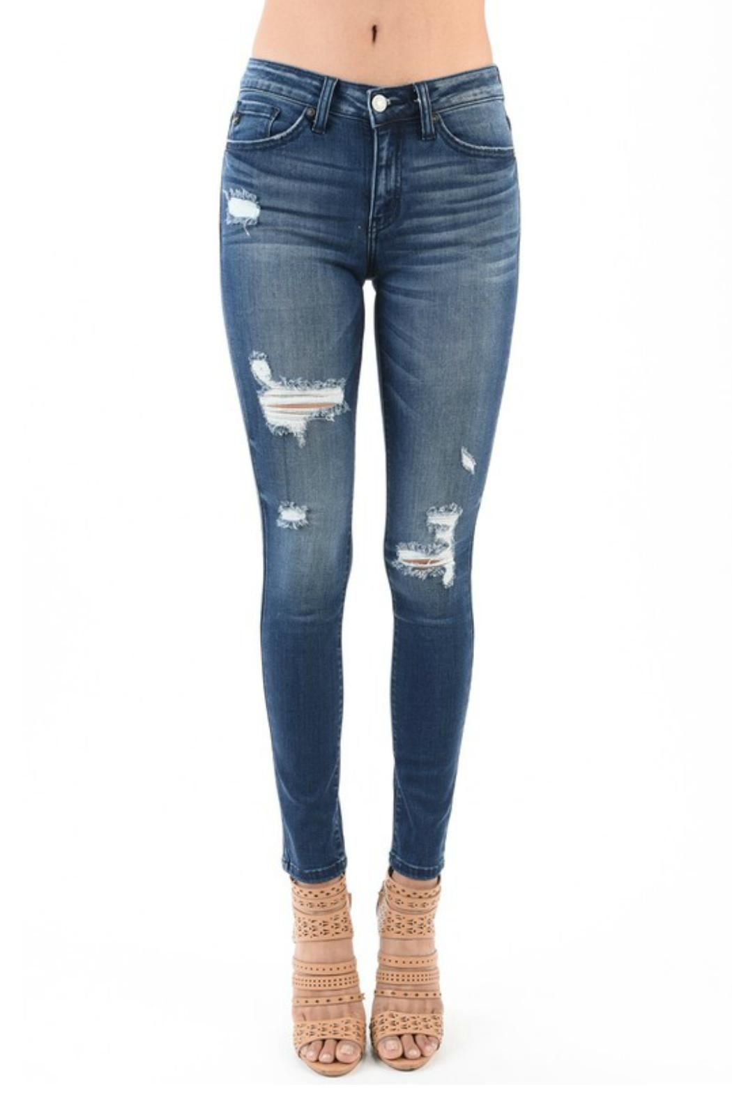Kan Can High Waist Distressed Jeans - Main Image