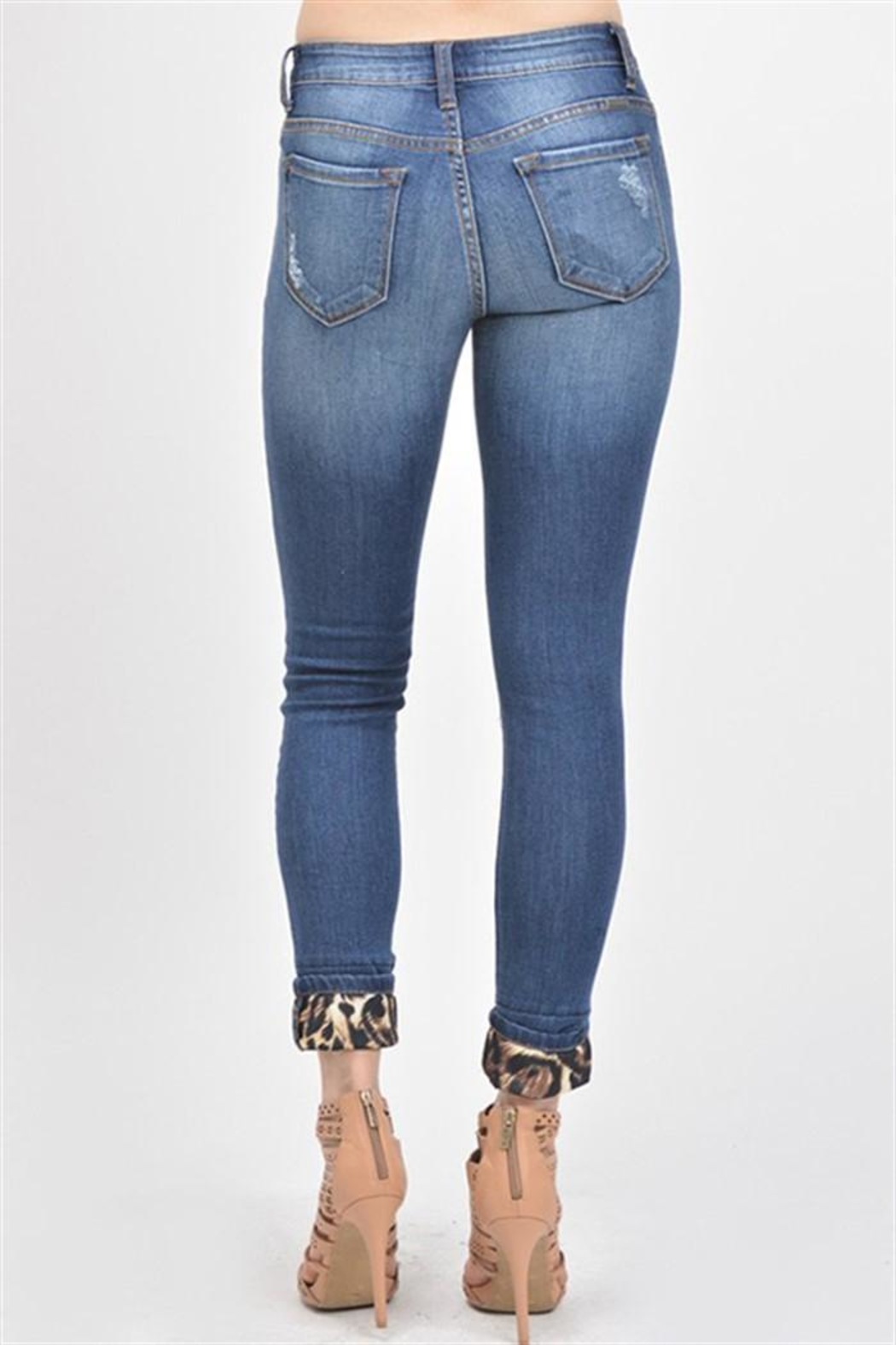 Kan Can Leopard Print Jeans - Front Full Image