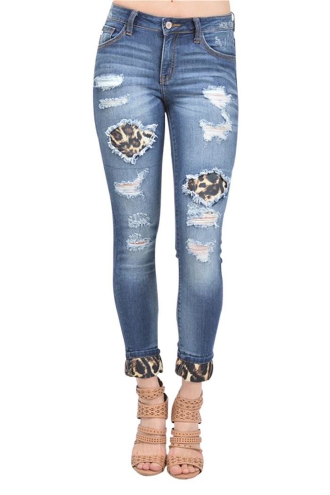 Kan Can Leopard Print Jeans - Main Image