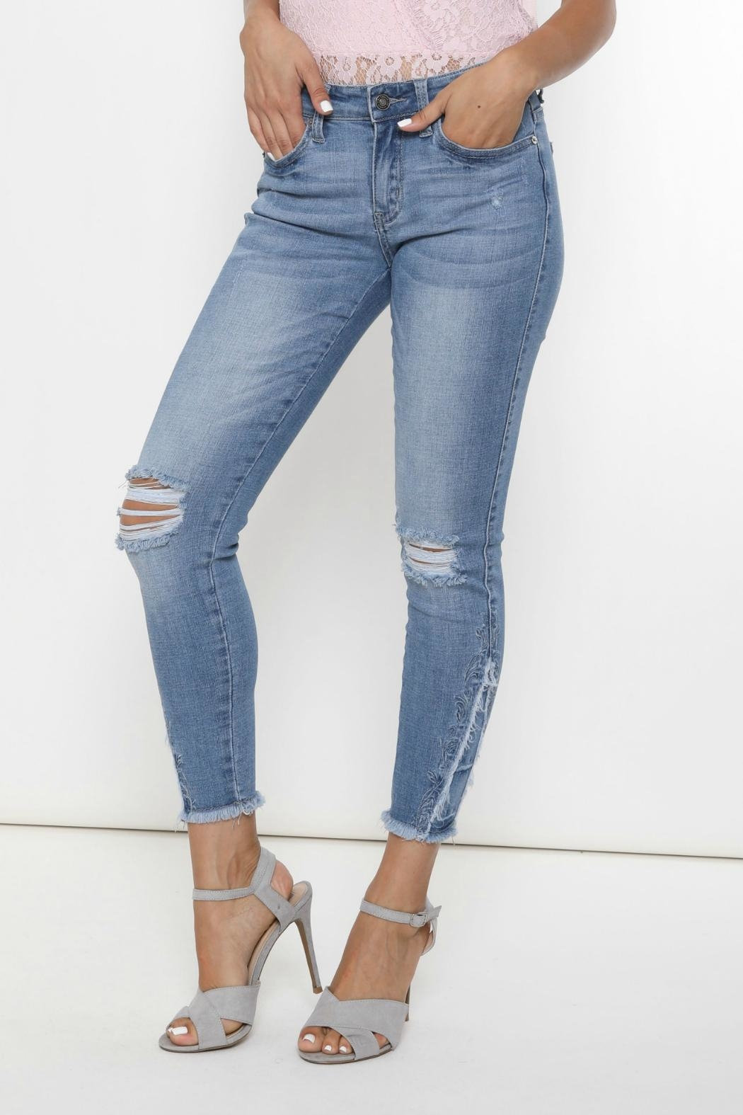 Kan Can Stella Embroidered Skinny - Front Full Image