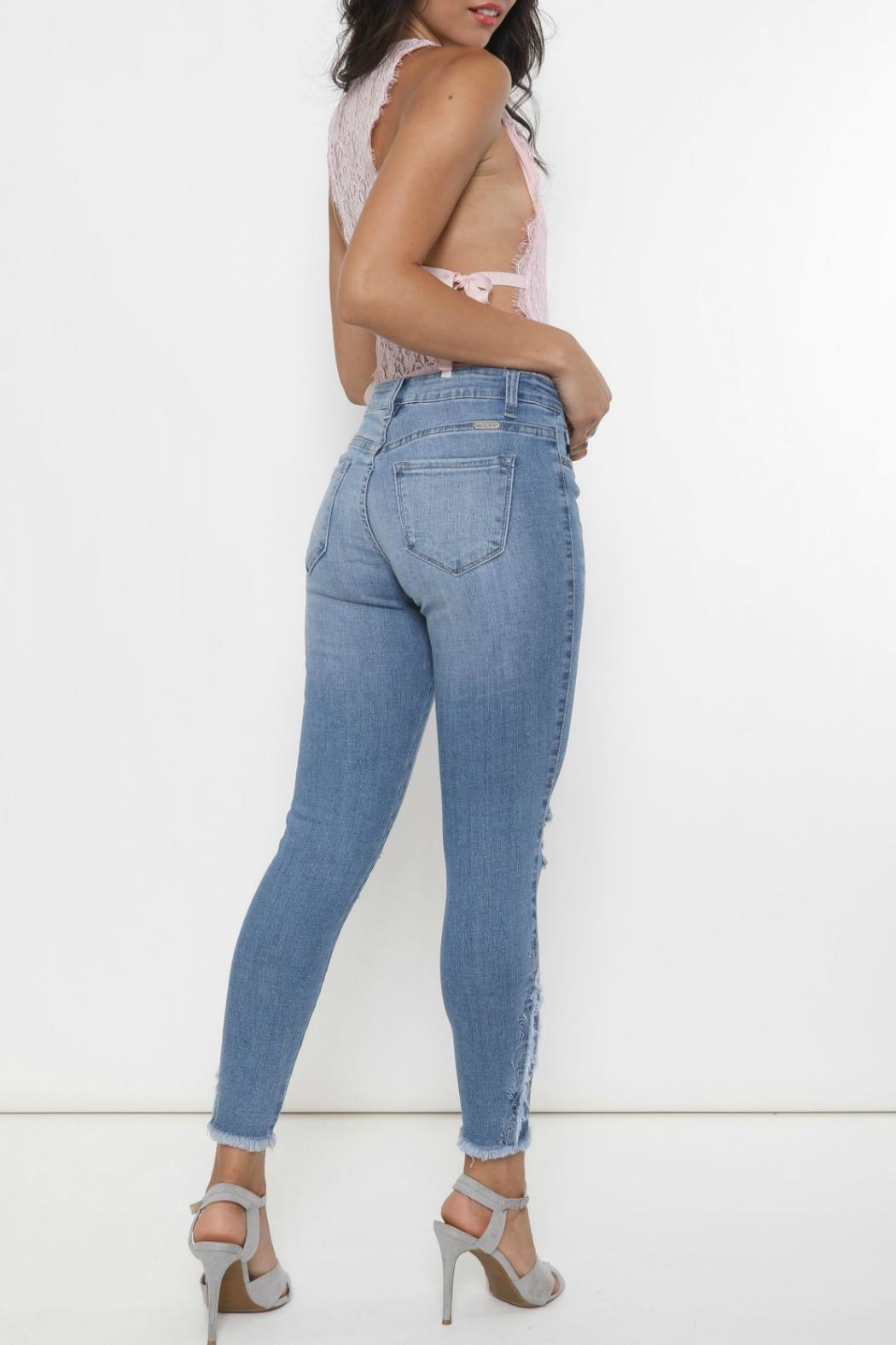 Kan Can Stella Embroidered Skinny - Back Cropped Image