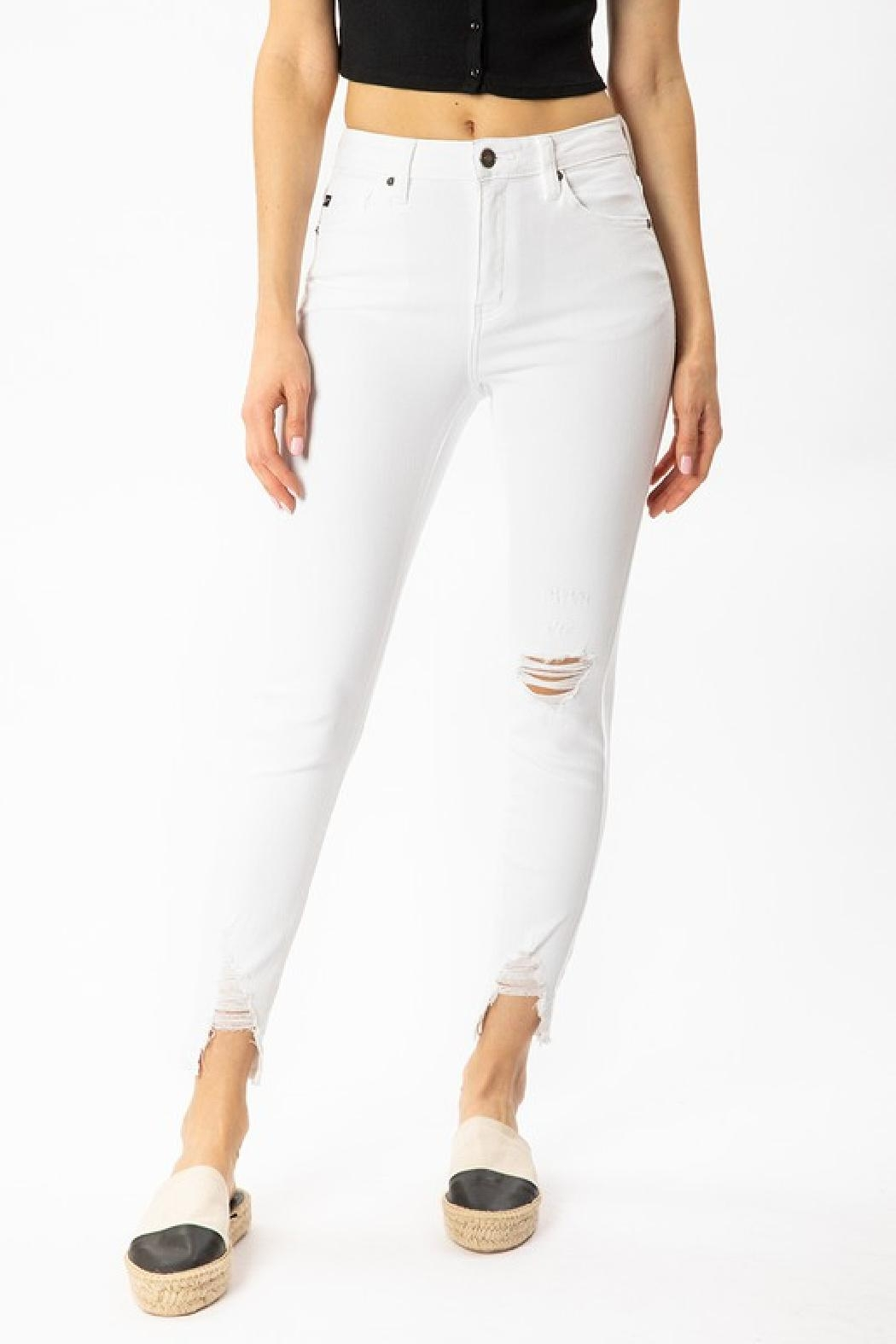 Kan Can White Distressed Jeans - Main Image