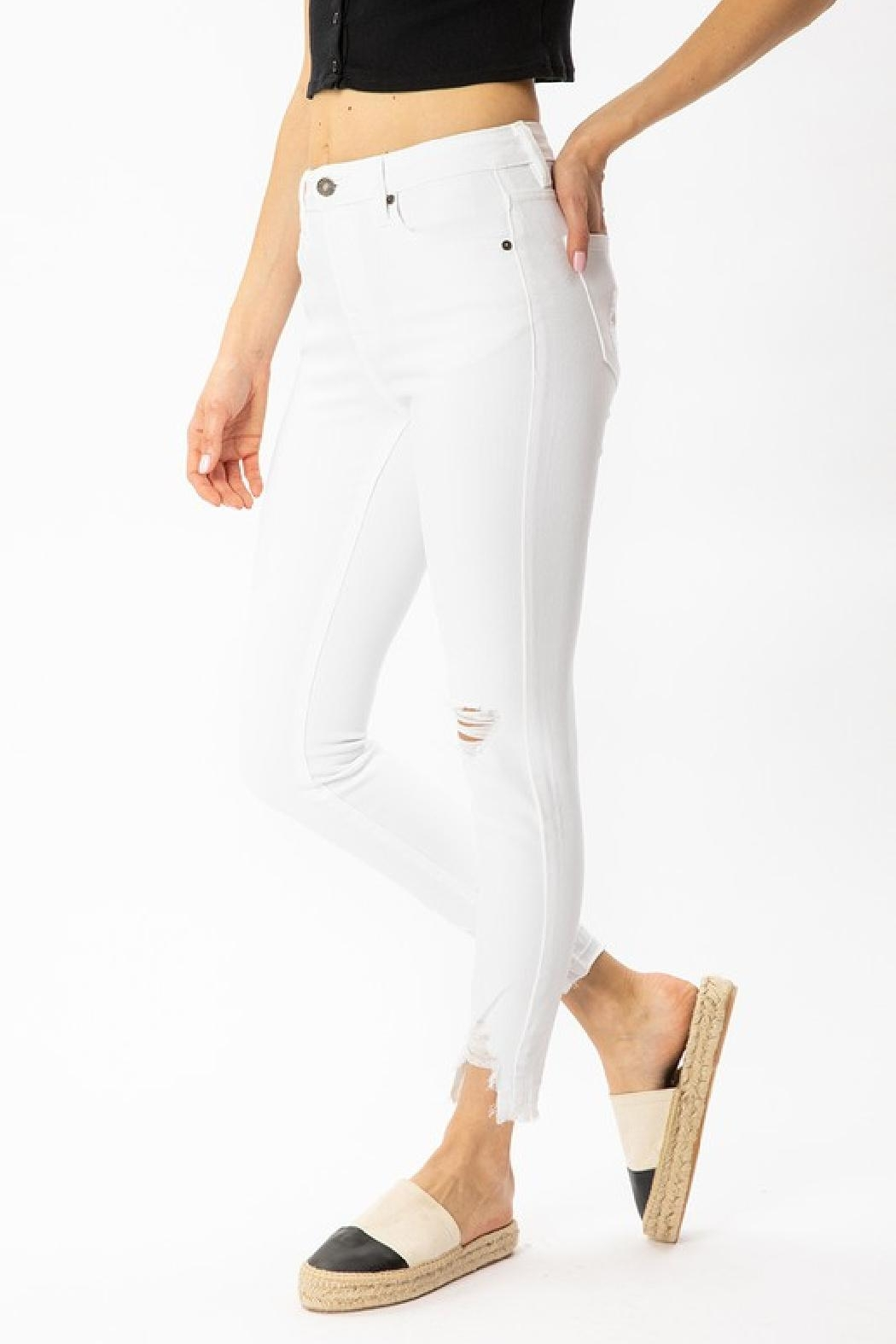 Kan Can White Distressed Jeans - Side Cropped Image