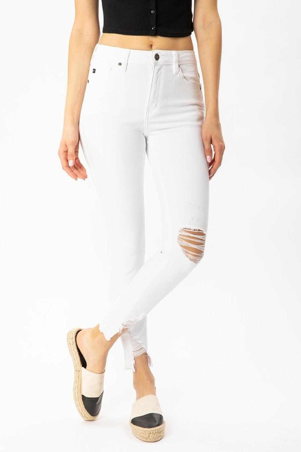 Kan Can White Distressed Jeans - Front Full Image