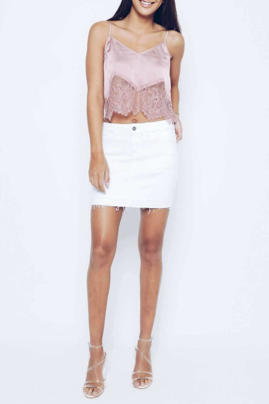 Kan Can White Distressed Skirt - Front Full Image