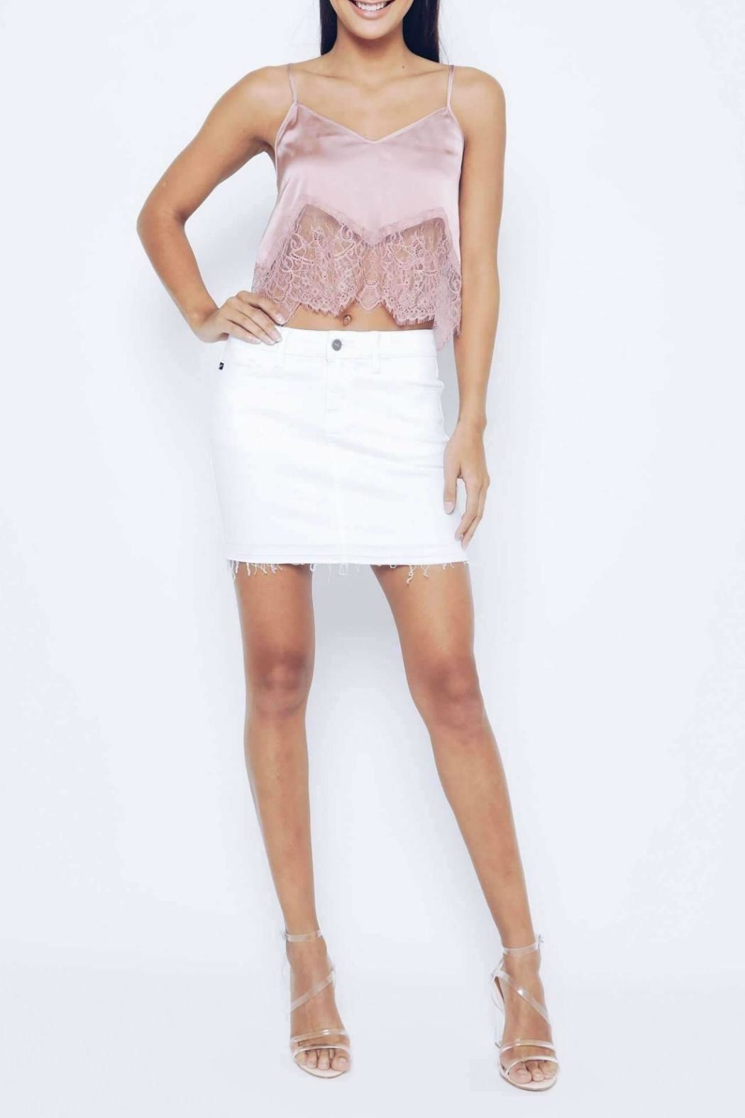 Kan Can White Distressed Skirt - Main Image