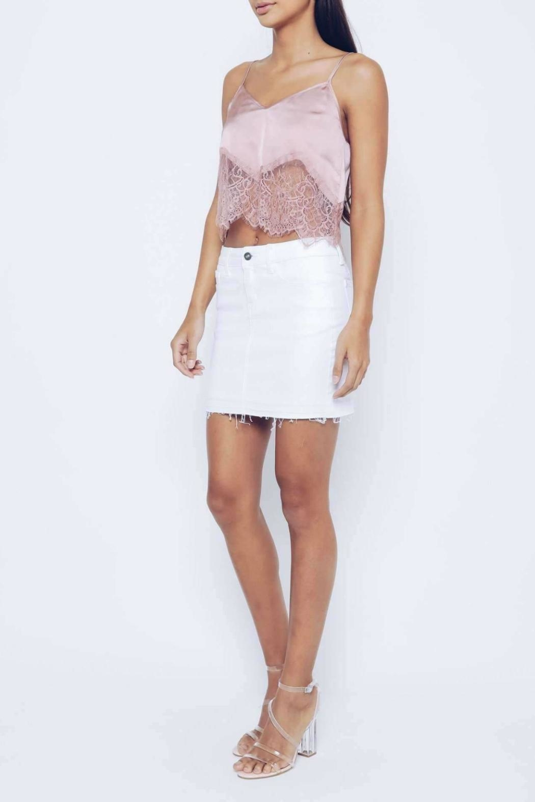 Kan Can White Distressed Skirt - Side Cropped Image