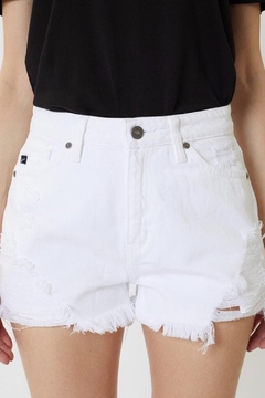 Kan Can White Jean Shorts - Product List Image