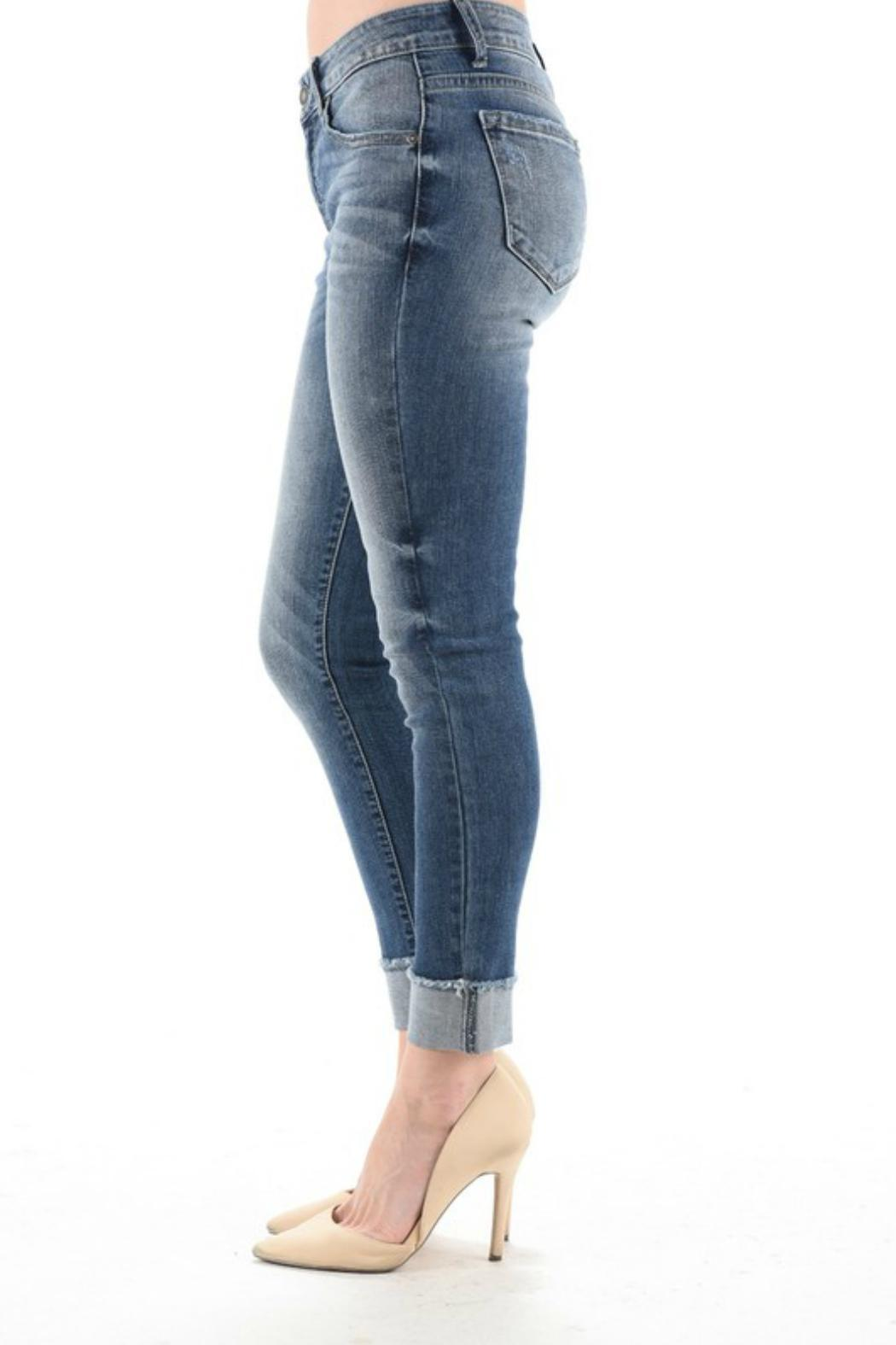 KanCan Cuffed Cropped Jeans - Front Full Image
