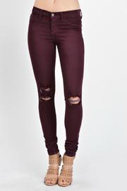 KanCan Distressed Burgundy Skinny - Front cropped