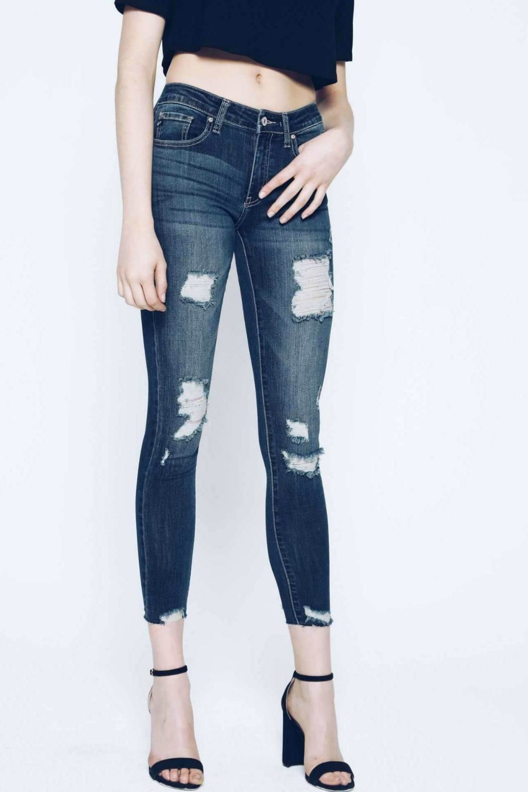 KanCan Distressed Cropped Skinny - Side Cropped Image