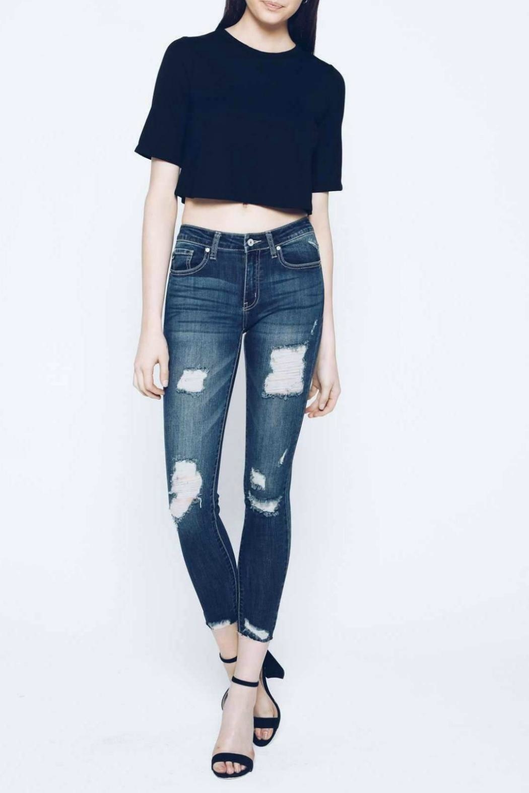 KanCan Distressed Cropped Skinny - Main Image