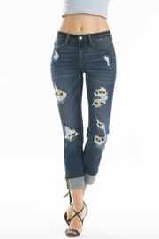 KanCan Distressed Leopard-Lining Jeans - Back cropped