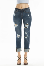 KanCan Distressed Leopard-Lining Jeans - Product Mini Image
