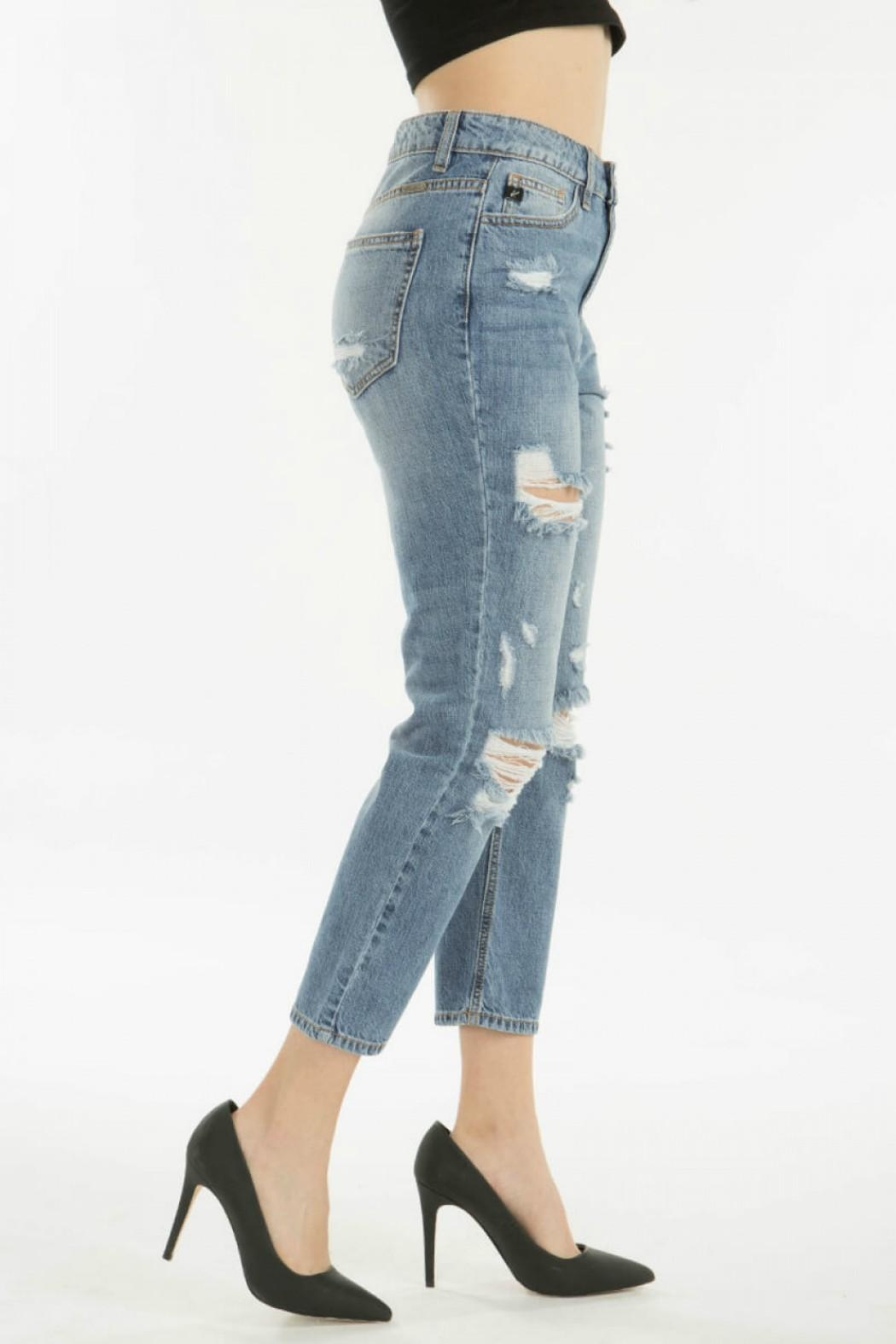KanCan Distressed Straight Jean - Back Cropped Image