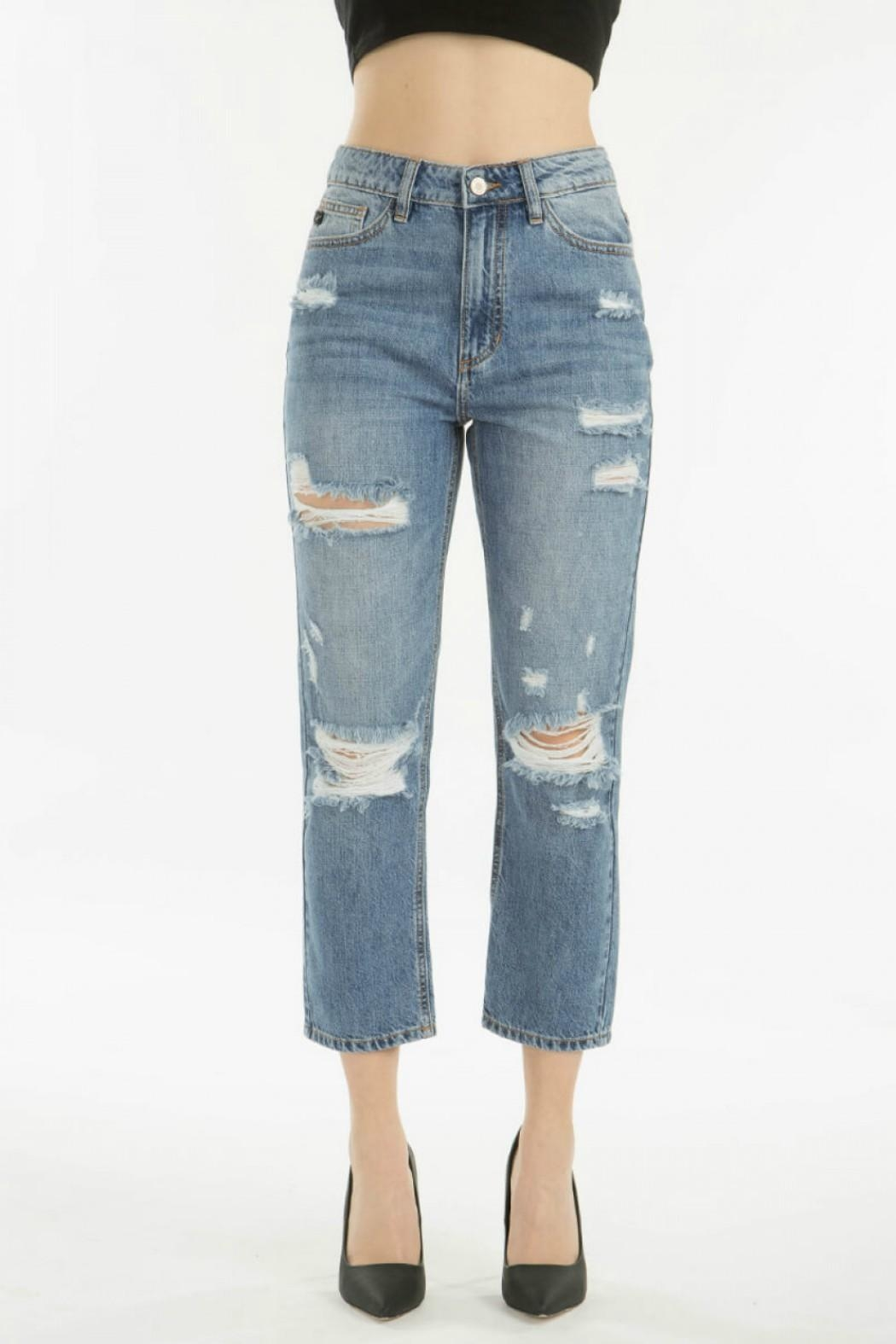 KanCan Distressed Straight Jean - Side Cropped Image