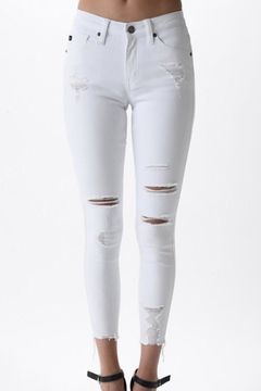 KanCan Distressed White Jeans - Product List Image