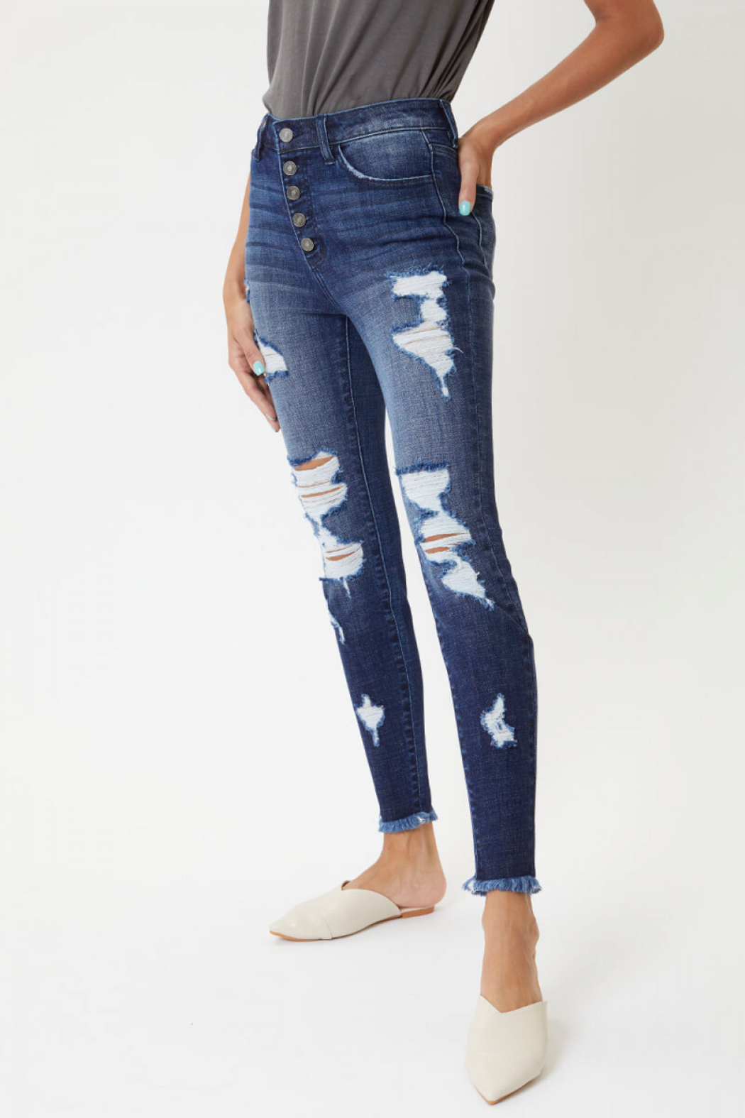 KanCan High Rise Ankle Skinny jean (KC7310D) - Front Cropped Image