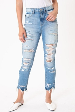KanCan High Rise Colorful Threading Distressed Skinny jean (KC9224L) - Product List Image