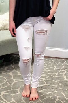 KanCan High Rise Distressed White Skinny Jean - Product List Image