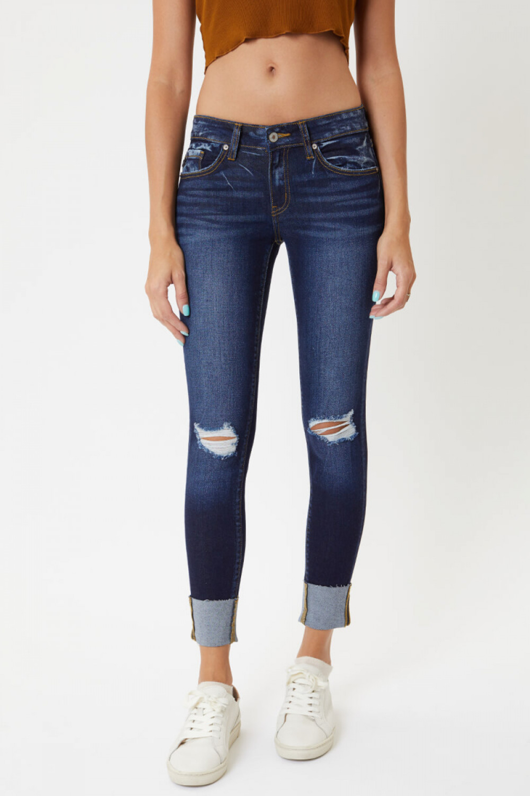 KanCan Low Rise Cuffed Ankle Skinny (KC8245RD) - Main Image