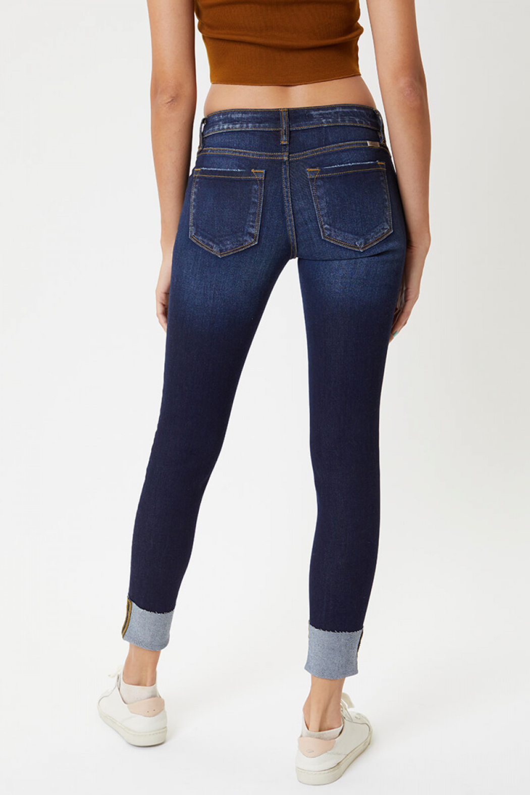 KanCan Low Rise Cuffed Ankle Skinny (KC8245RD) - Front Full Image