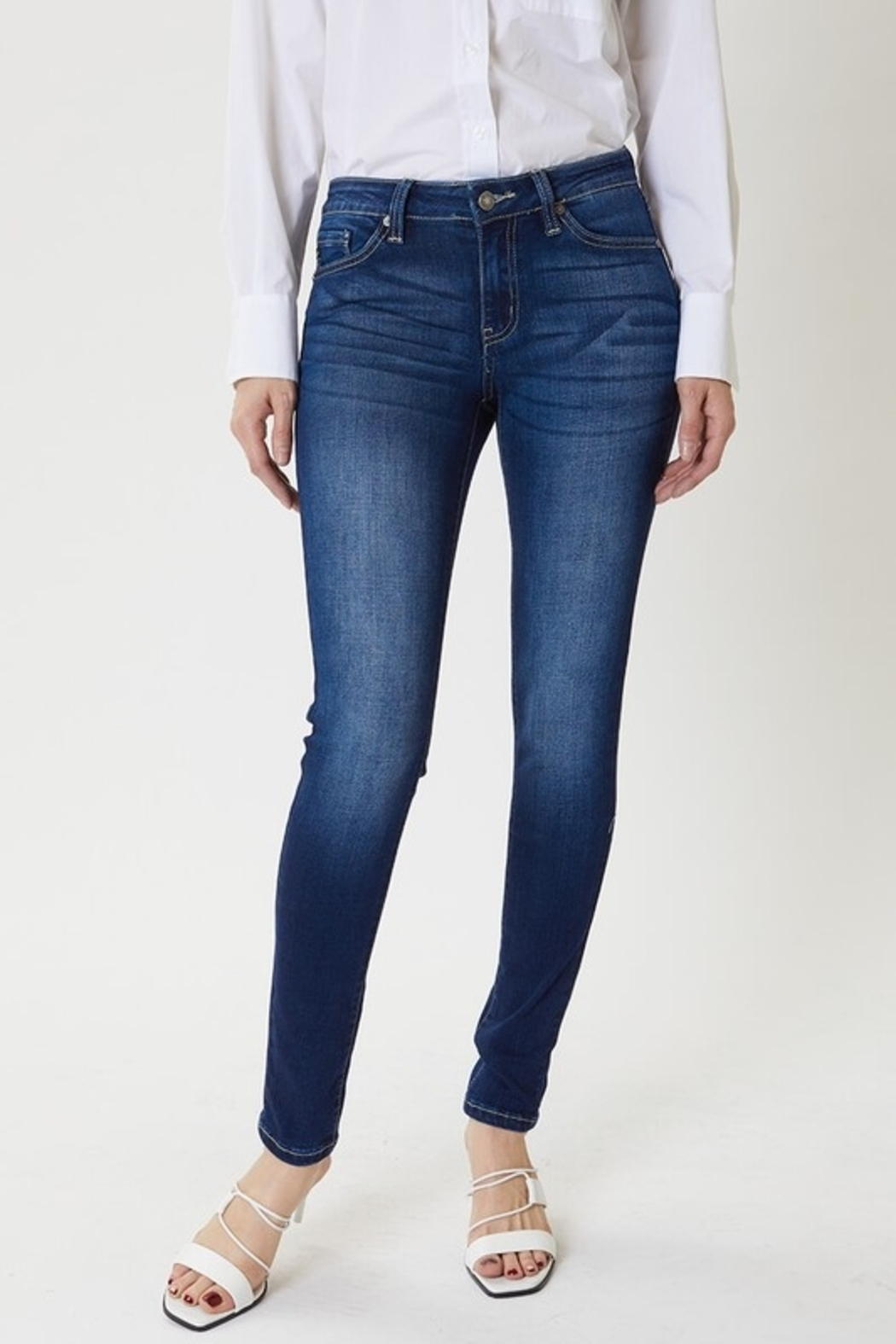 KanCan Mid Rise Dark Wash Super Skinny jeans (KC7085DH) - Front Cropped Image