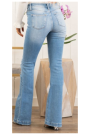 KanCan Mid Rise Distressed Flare - Front full body