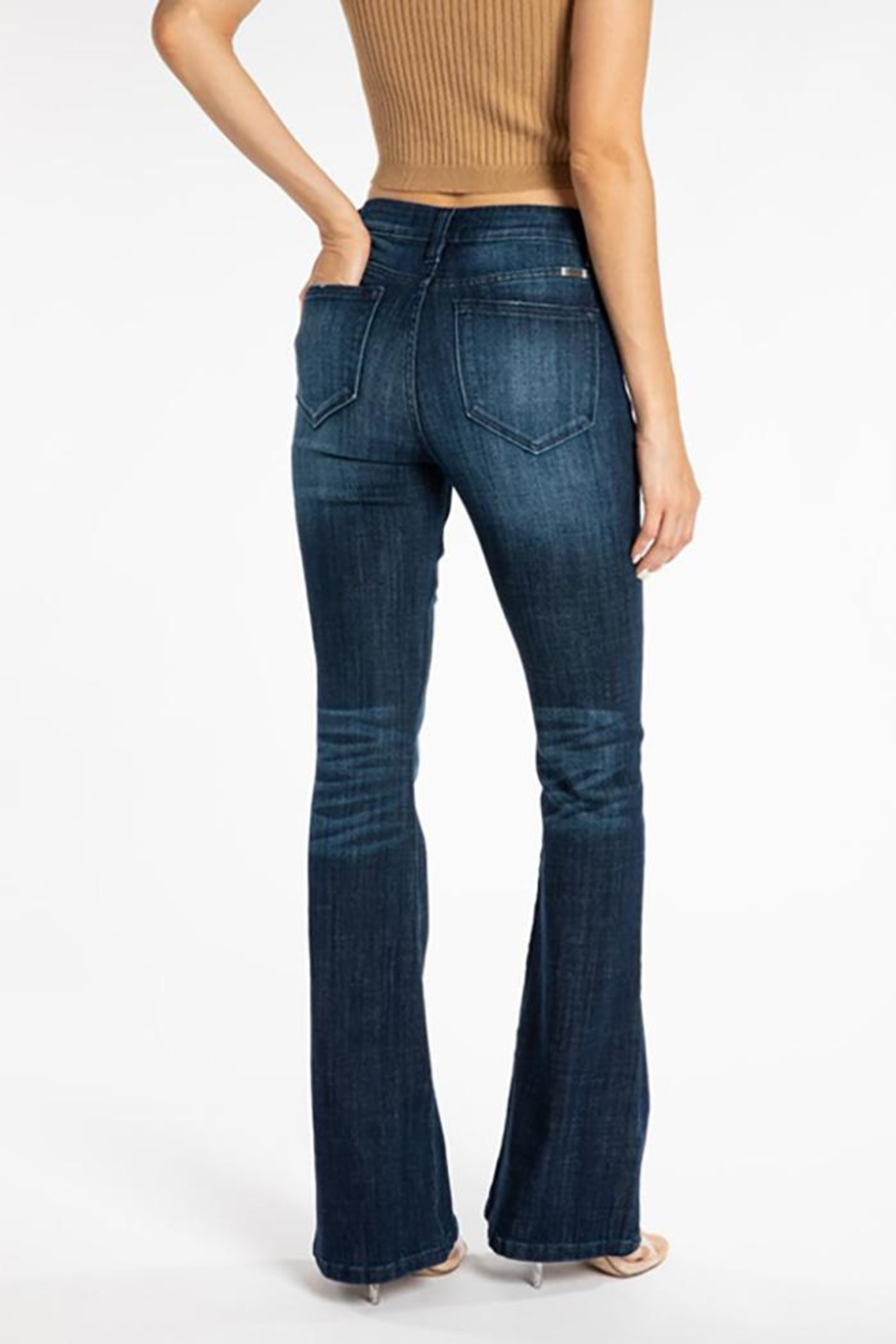 KanCan Mid Rise Flare Jeans - Back Cropped Image