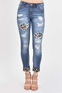 KanCan Mid Rise Leopard Patch Ankle Skinny - Product List Image