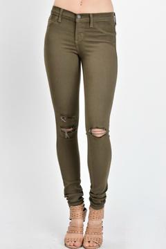 Shoptiques Product: Olive Distressed Skinny Jeans
