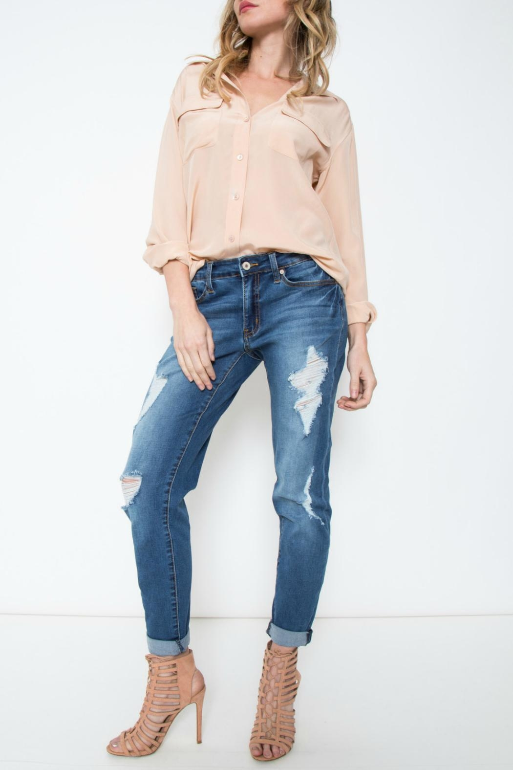 KanCan Relaxed Distressed Skinny Jean - Main Image