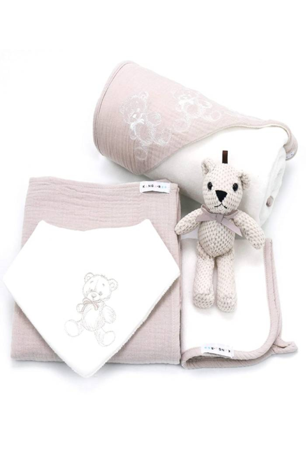 Kanga+Roo Newborn Baby Gift Basket Set - Shower Gifting for Girls. 5 Piece Set. Large Hooded Baby Towel, Washcloth, Cotton Swaddle and Teddy Bear. - Front Cropped Image