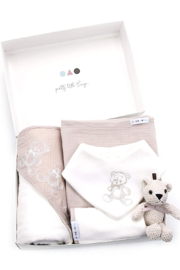Kanga+Roo Newborn Baby Gift Basket Set - Shower Gifting for Girls. 5 Piece Set. Large Hooded Baby Towel, Washcloth, Cotton Swaddle and Teddy Bear. - Front full body