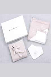 Kanga+Roo Newborn Baby Gift Basket Set - Shower Gifting for Girls. 5 Piece Set. Large Hooded Baby Towel, Washcloth, Cotton Swaddle and Teddy Bear. - Side cropped