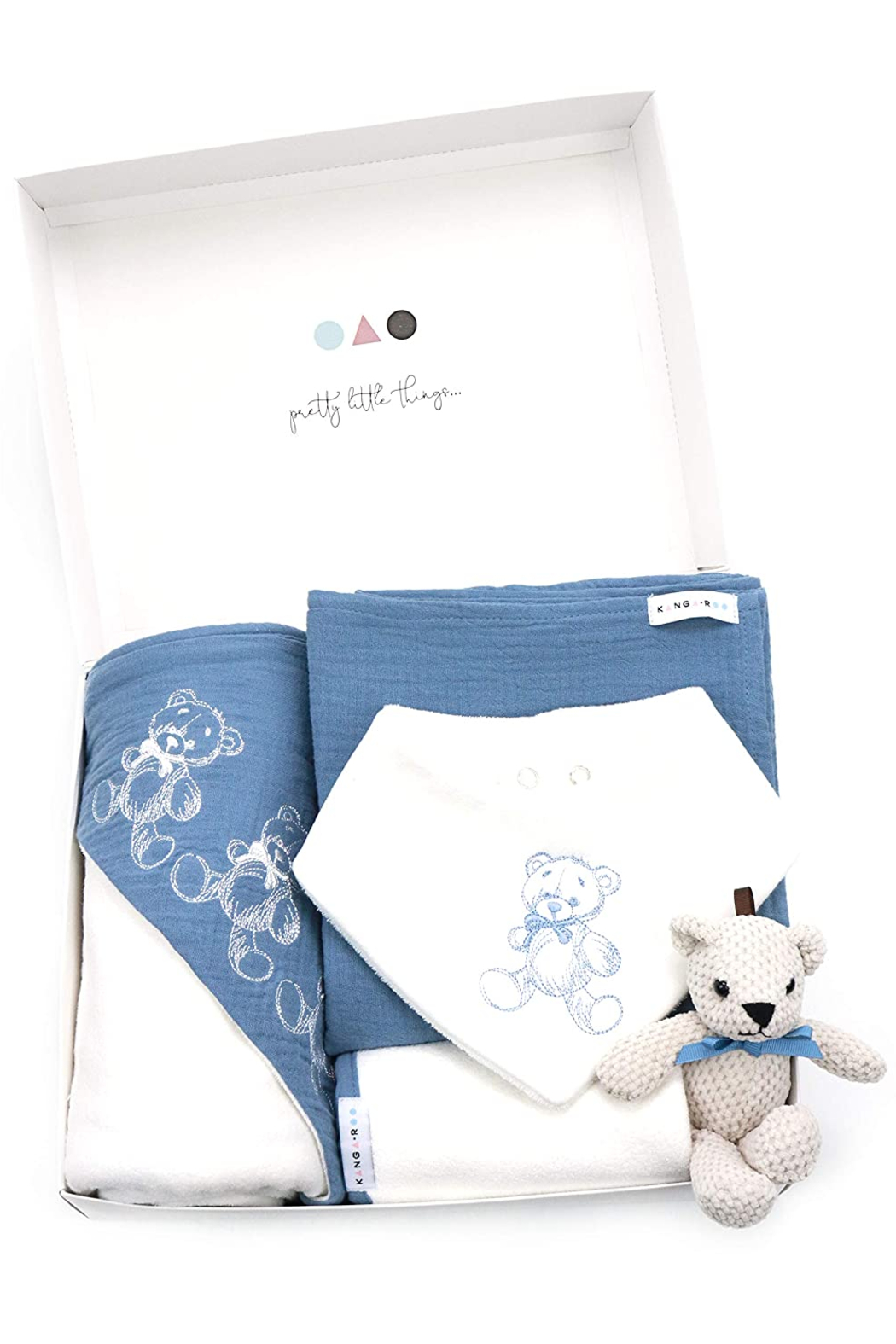 Kanga+Roo Newborn Baby Gift Basket Set - Shower Gifting for Girls. 5 Piece Set. Large Hooded Baby Towel, Washcloth, Cotton Swaddle and Teddy Bear. - Front Full Image