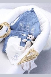 Kanga+Roo Newborn Baby Gift Basket Set - Shower Gifting for Girls. 5 Piece Set. Large Hooded Baby Towel, Washcloth, Cotton Swaddle and Teddy Bear. - Back cropped