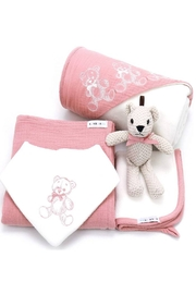Kanga+Roo Newborn Baby Gift Basket Set - Shower Gifting for Girls. 5 Piece Set. Large Hooded Baby Towel, Washcloth, Cotton Swaddle and Teddy Bear. - Front cropped