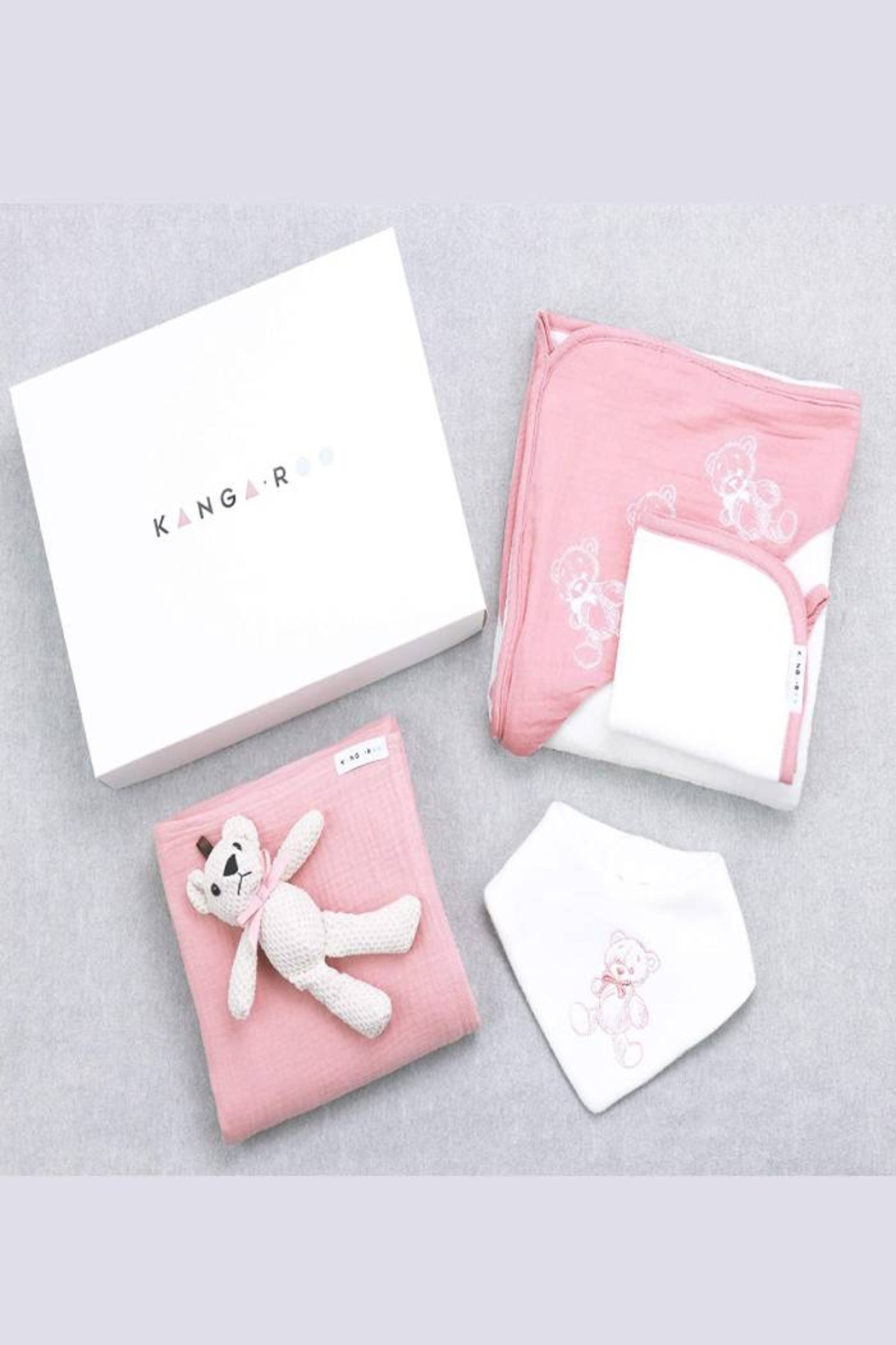 Kanga+Roo Newborn Baby Gift Basket Set - Shower Gifting for Girls. 5 Piece Set. Large Hooded Baby Towel, Washcloth, Cotton Swaddle and Teddy Bear. - Side Cropped Image