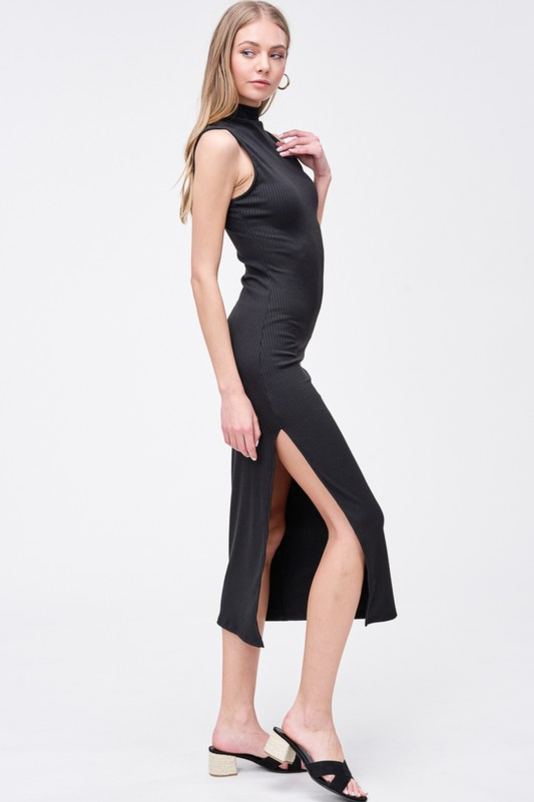 R+D  Kara Mock Neck Maxi - Side Cropped Image