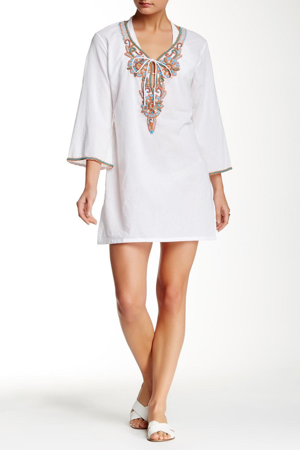 Kareena's White Beaded Tunic - Front Cropped Image